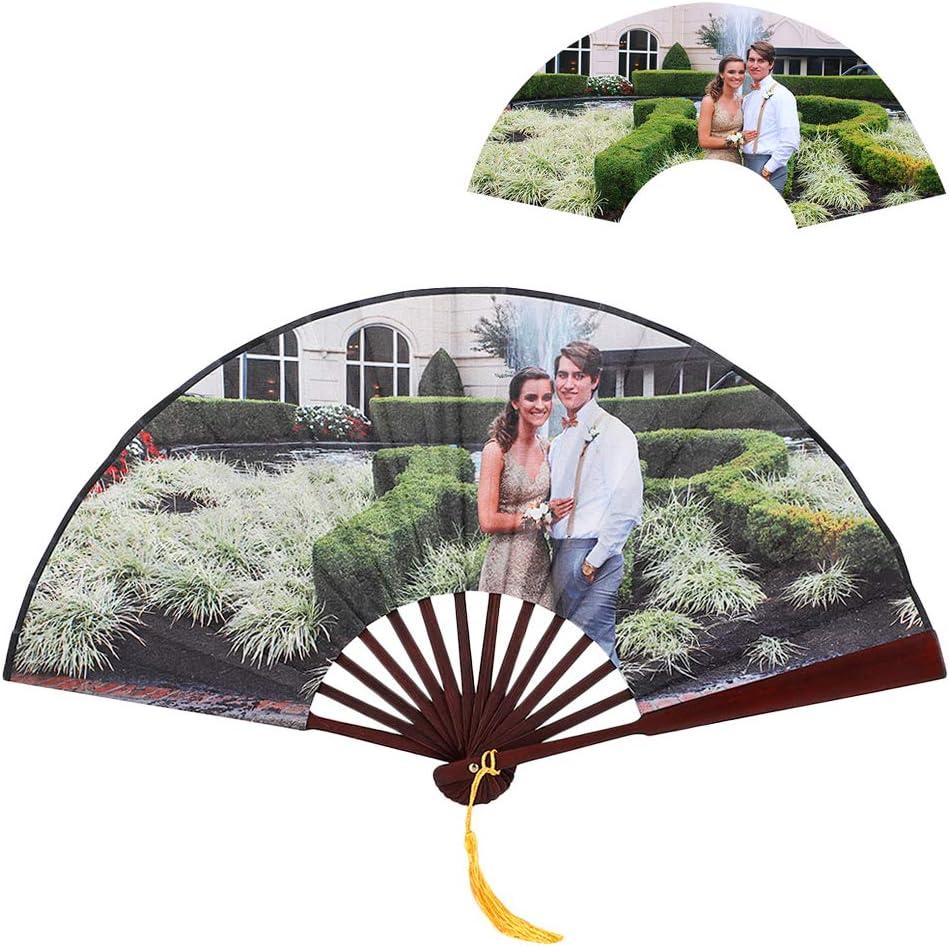GDCB Ventilador Plegable Personalizado, Estilo Chino Foto Personalizada Fan de Mano con Marco de bambú para Iglesia Regalo de Boda, Favores de Fiesta, Decoración de Bricolaje