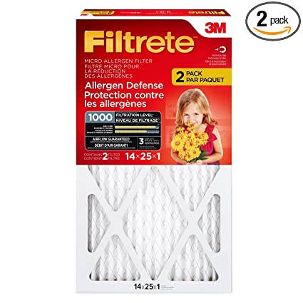 Filtrete MPR 1000 14 x 25 x 1 Micro Allergen Defense HVAC Air Filter, 2