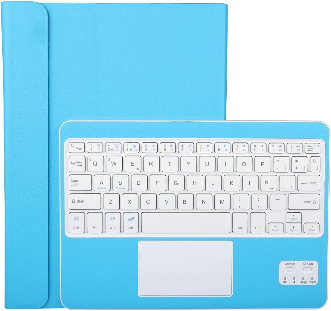 CoastaCloud Funda con Teclado Bluetooth Teclado Bluetooth Inalámbrico 3.0 QWERTY Español con Multi Touchpad - Compatible 9-10.6 Pulgadas Cualquier Windows/Android OS Tablet PC (Azul)