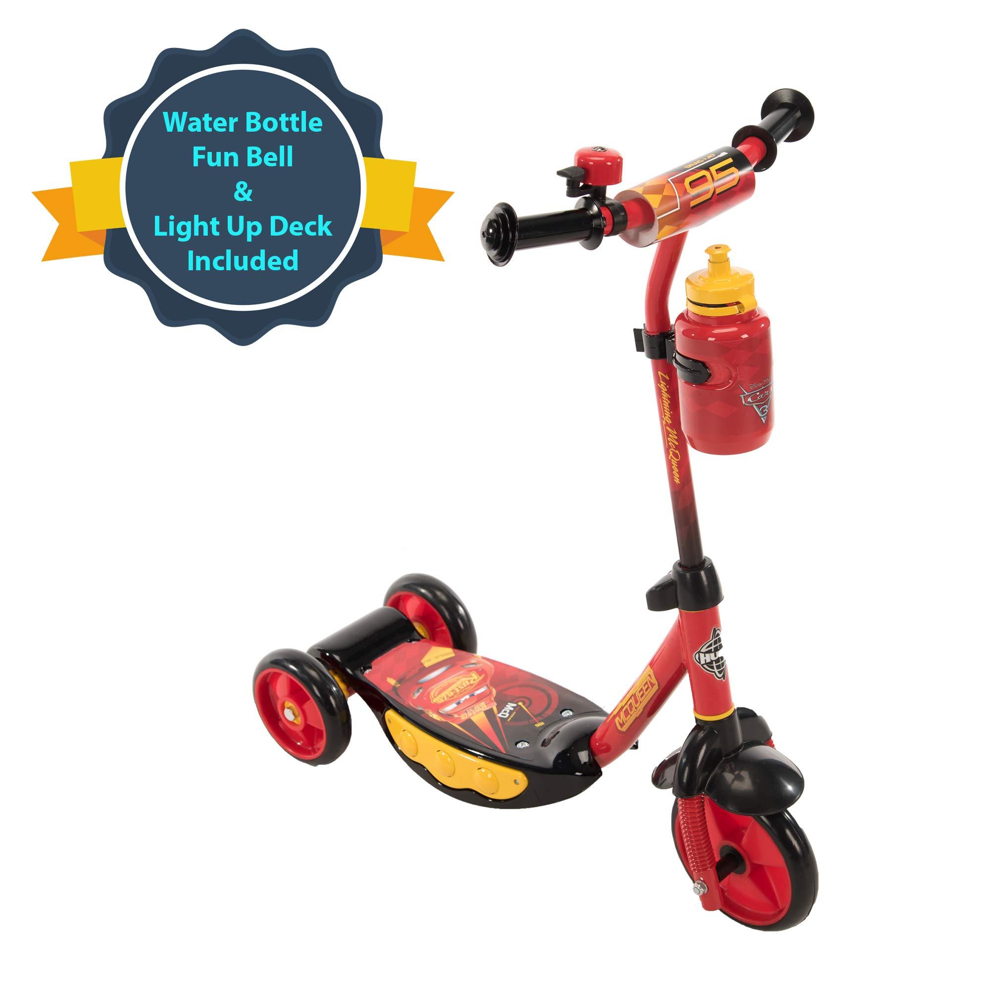 Huffy Disney Pixar Cars Preschool Scooter with Lights, Bell & A Water Bottle Superhero Red, Pixar Cars with Lights & Water Bottle by Huffy