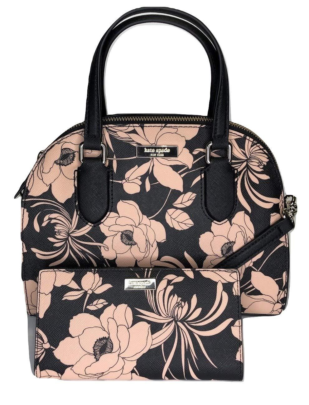 Kate Spade New York Laurel Way Mini Reiley WKRU5639 bundled with matching Stacy Wallet (Black/Flowers)