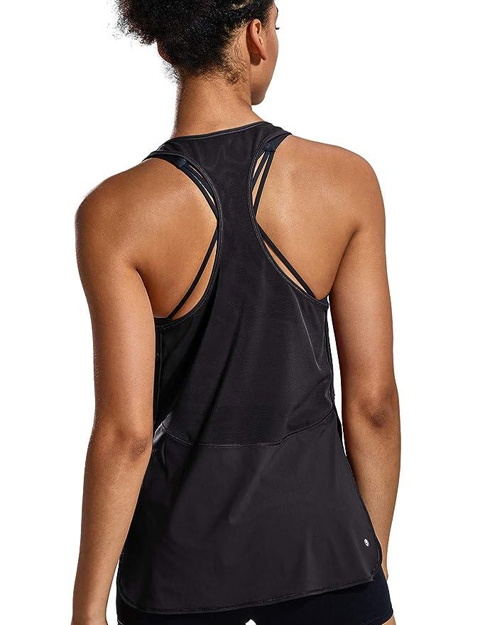 CRZ YOGA Mujer Camiseta de Malla Deportiva sin Mangas de Correr Fitness  División Lateral  Amazon.es  Ropa y accesorios 5ccb4d3d005b