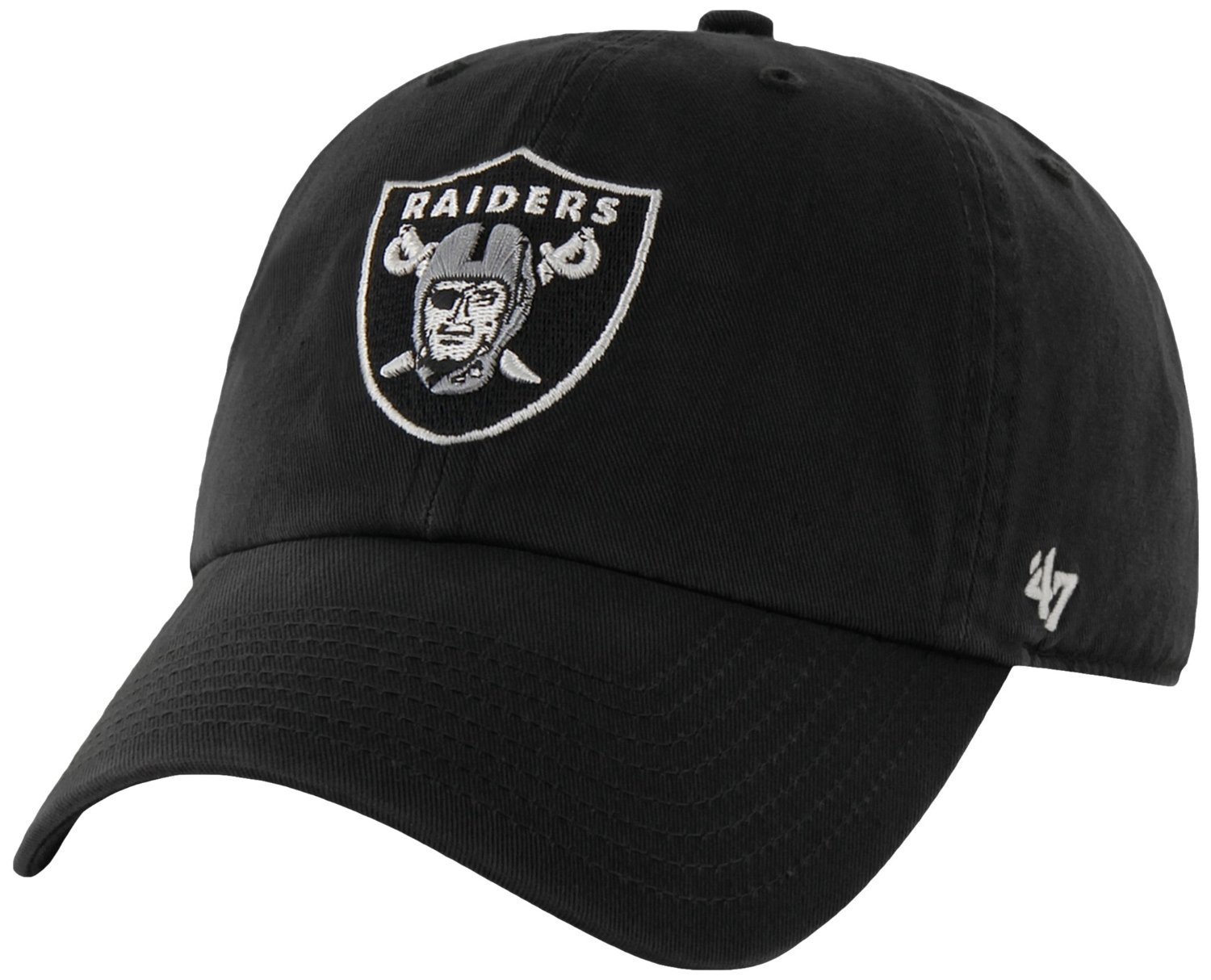 2faf93d05be5fd Amazon.com : NFL Oakland Raiders '47 Brand Black Basic Logo Clean Up Home  Adjustable Hat : Sports & Outdoors