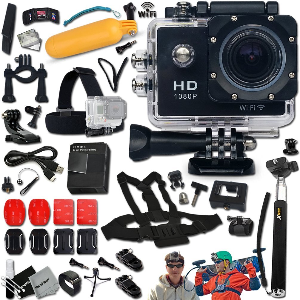 KoolCam AC300 Waterproof ACTION Camera / Camcorder HD 1080p H.264 w/ Wifi + SUPER Accessories Kit Includes: Head Strap + Chest Strap + Helmet Mount + Handheld Extendable MONOPOD Pole + Long Life Battery + USB Charging Cable + Camera Wrist Mount + Hermetic