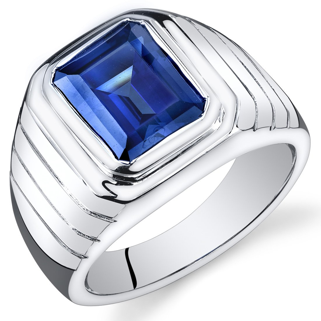 Mens 6.50 Carats Created Sapphire Ring Sterling Silver Rhodium Nickel Finish Octagon Cut Sizes 8 to 13