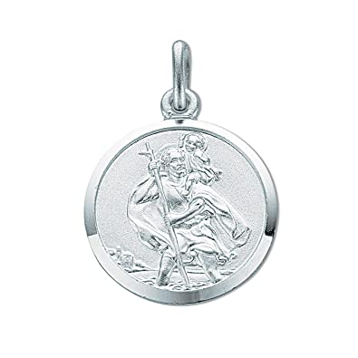 Sterling Silver Medium Round St Christopher Pendant On A Snake Necklace gKXUw