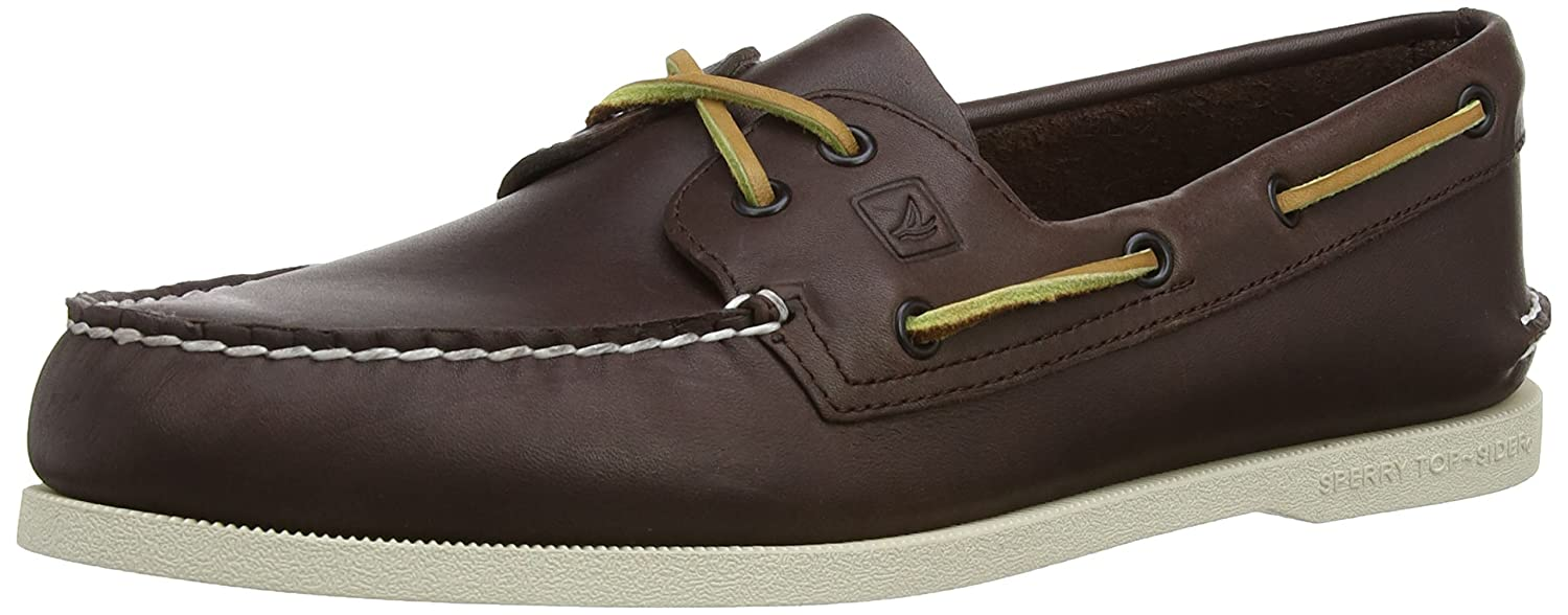Sperry A/O 2-Eye Leather 0195214 - Mocasines de cuero para hombre 45.5 EU|Marrón (Dunkelbraun)