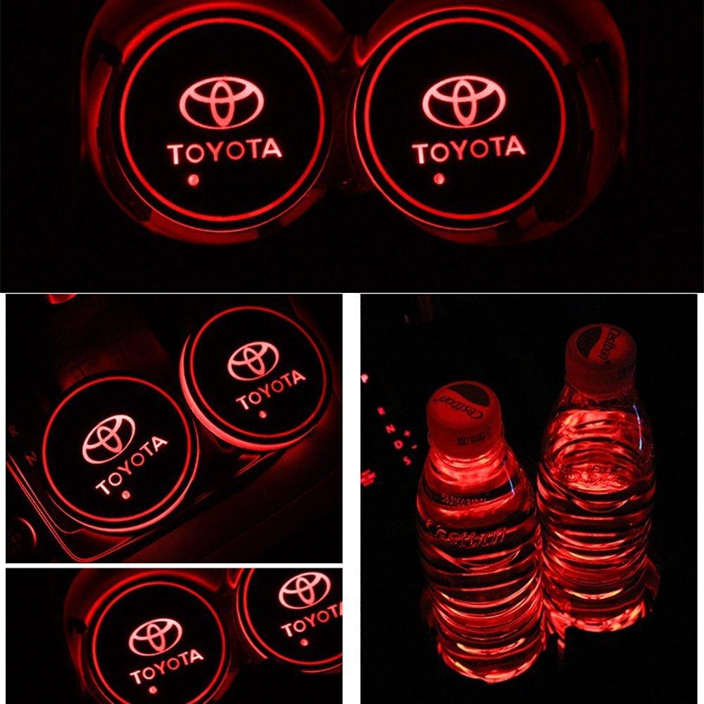 JIanna LED Car Logo Cup Holder Pad 7 Colors Changing USB Charging Mat LED Cup Mat Car Atmosphere Lamp Decoration Lights 2PCS AMG