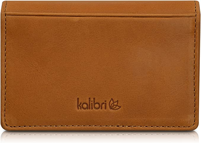 Kalibri Leather Business Card Holder Real Leather Wallet Case For Business Cards Credit Cards Bank Cards And More Holds Up To 60 Cards Black