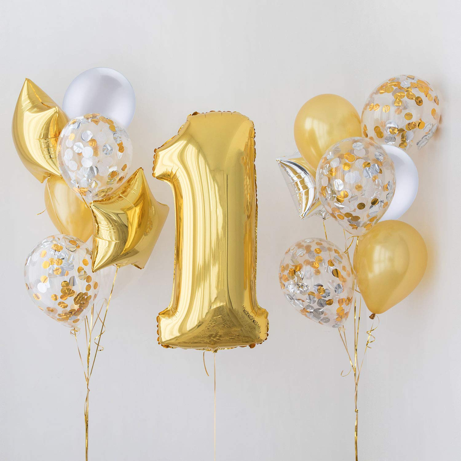 Jovitec 30 Pieces 12 Inches Latex Balloons Confetti Balloons for Wedding Birthday Party Decoration White and Pink