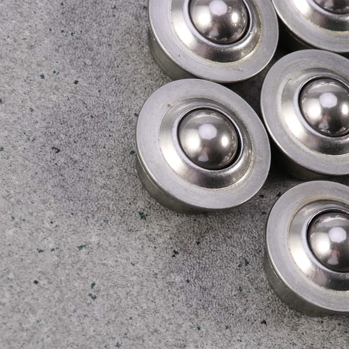 VILLCASE Ball Transfer Bearing-10pcs Stainless Steel Universal Base Metal Ball Bearing Casters Wheel Mounted Bearing Transfer Bearings for Transmission Wheelchair Furniture