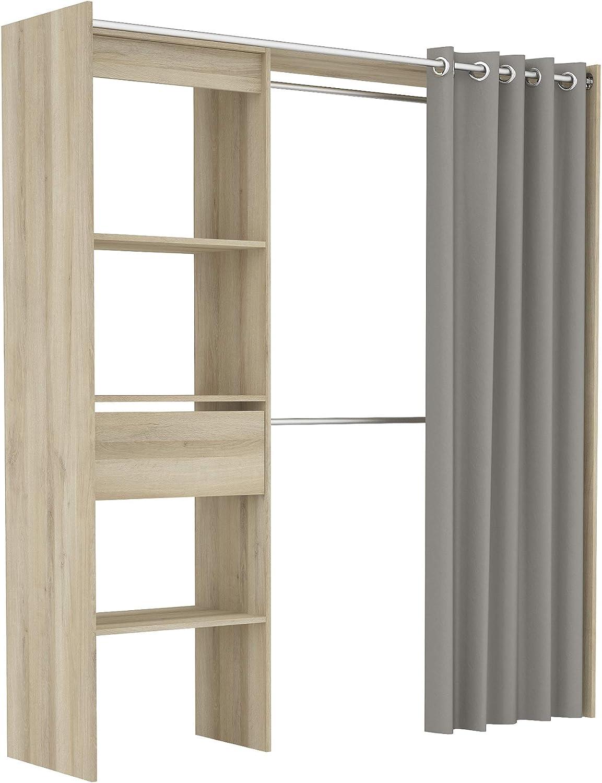 demeyere kit dressing placard extensible avec rideau gris pour la chambre rangement de vos vetements chene kronberg 168 2 cm x 50 cm x 187 cm