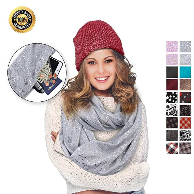 The Infinity Pocket Scarf Novelty Travel Hidden Zipper Scarves travel product recommended by Ashley on Lifney.