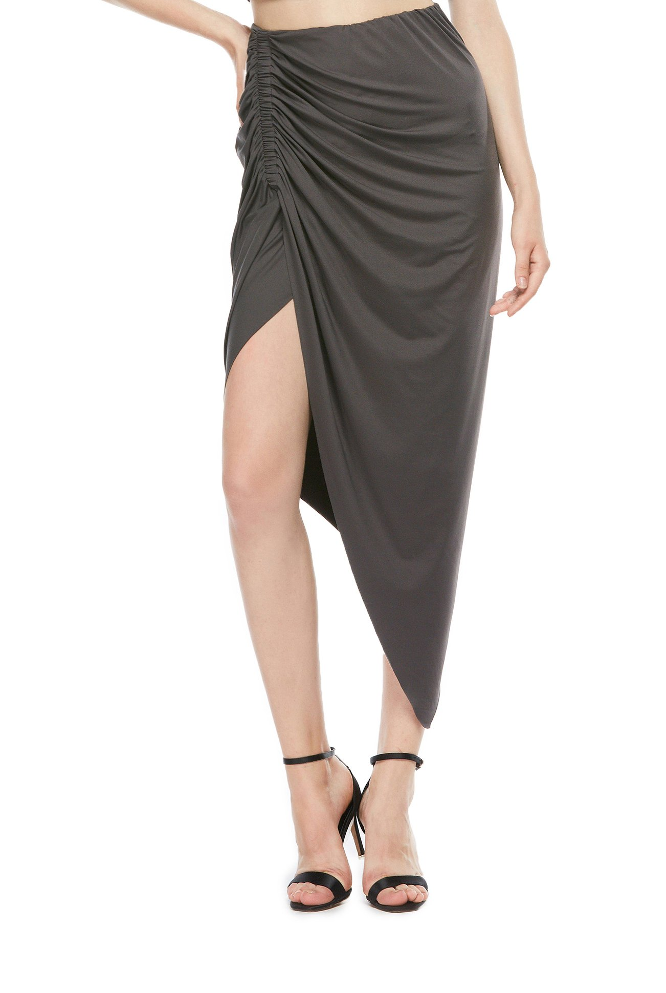 DISBEST Women's High-Low Cut Out Asymmetric Stretchy Pencil Pack Hip Long Midi Bodycon Skirt,Gray,M/US 6