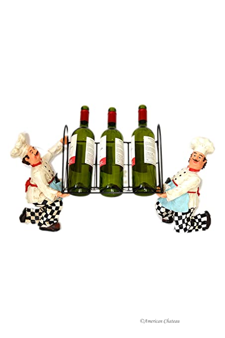 ordinary Chef And Wine Kitchen Decor Part - 2: Fat French Chef Resin Statue Wine Bottle Display Rack Metal Stand Kitchen  Decor