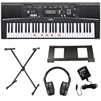 Yamaha EZ-220 Key Lighting Keyboard including AC Adapter, Westmount® Stand, Headphones and Free Online Lessons