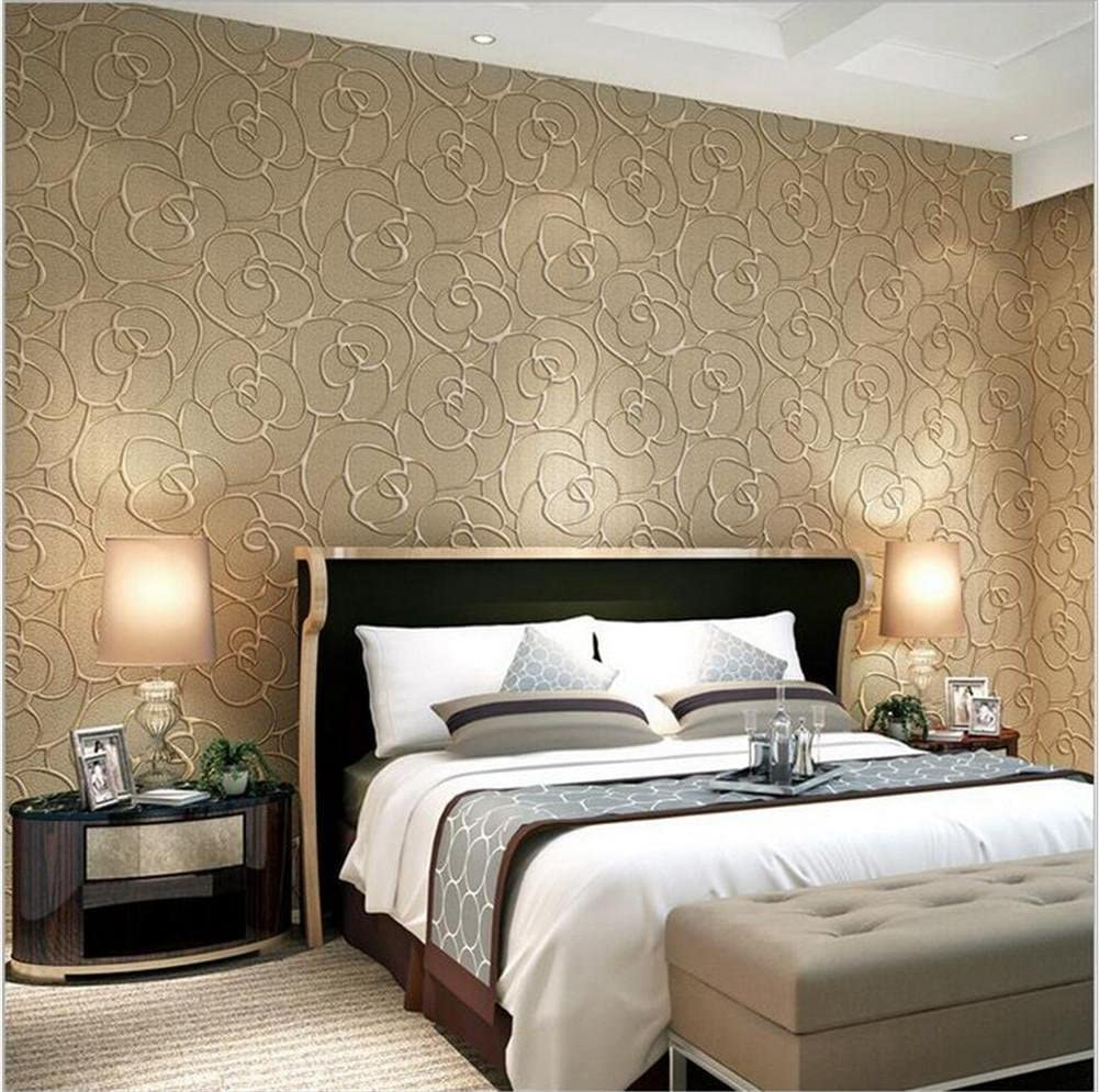 Kaluori Wallpaper Thicker Damascus Style 3d Relief Non Woven Decoration Living Room Restaurant Tv Wall Bedroom Wallpaper Light Brown Amazon Co Uk Diy Tools