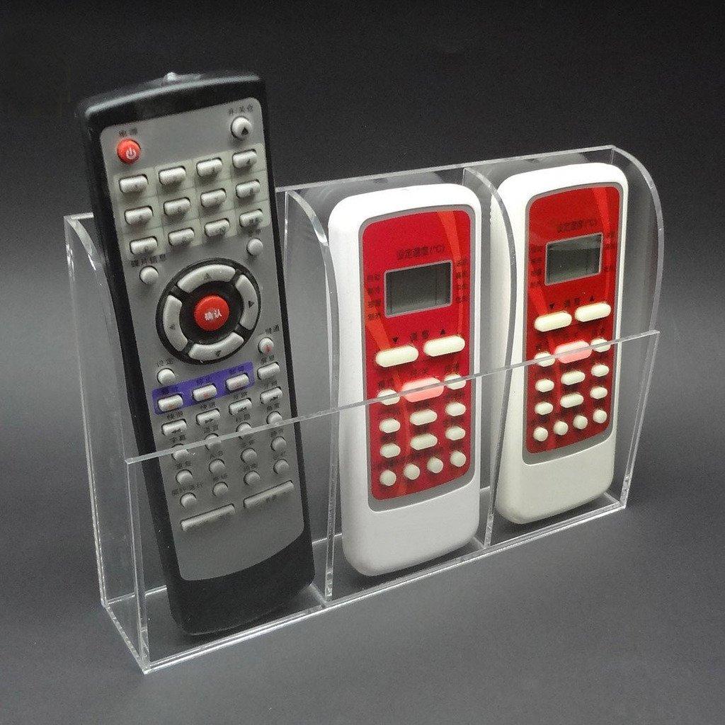 Oderola Clear Acrylic Television / Air Conditioner Remote Control Holder Wall Mount Storage Organizer Box, 3 Case