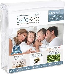 SafeRest Queen Size Classic Plus Hypoallergenic 100% Waterproof Mattress Protector - Vinyl Free