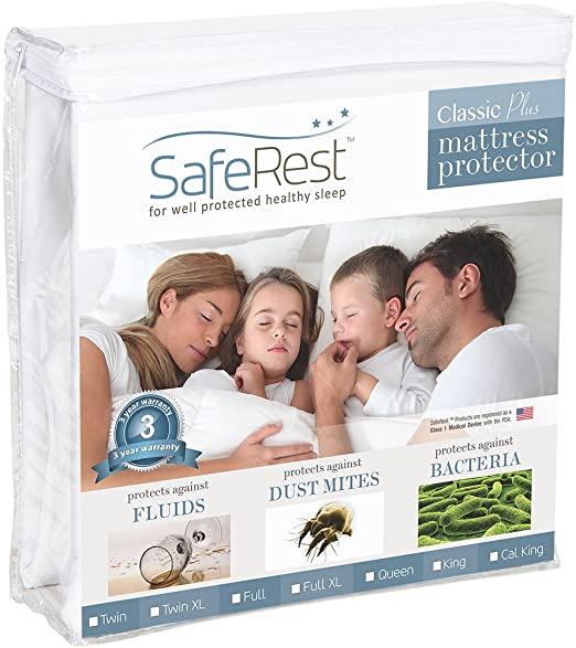 SafeRest Twin Extra Long Vinyl Free SYNCHKG028863 Classic Plus Hypoallergenic 100/% Waterproof Mattress Protector XL