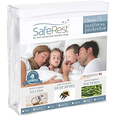 Twin Size SafeRest Classic Plus Hypoallergenic 100% Waterproof Mattress Protector - Vinyl Free