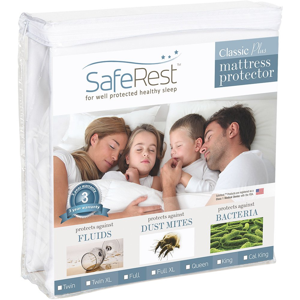 SafeRest Queen Size Classic Plus Hypoallergenic 100% Waterproof Mattress Protector - Vinyl Free by SafeRest (Image #1)