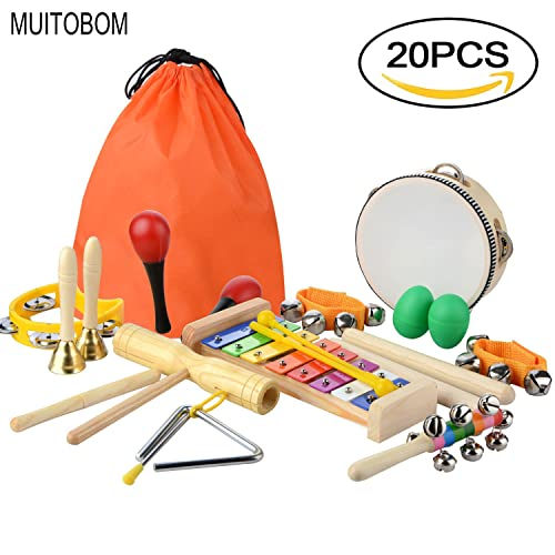MUITOBOM 20 Pcs Toddler & Baby Musical Instruments Set – Percussion Toy Fun Toddlers Toys Wooden Xylophone Glockenspiel Toy Rhythm Band Set, Percussion Set for Kids of All Ages