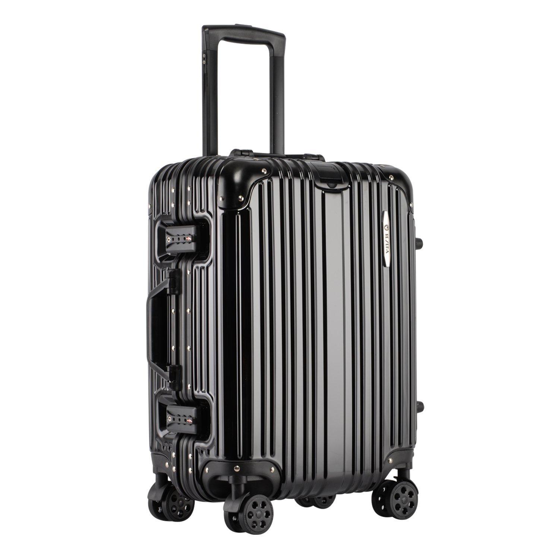 [RESENA] スーツケース アルミフレーム TSAロック搭載 大容量 軽量 8輪360度自由回転の静音キャスター 人気 キャリーケース 多色選択可能 フック付き B07DG2Q4LF Lサイズ(28寸)|ブラック ブラック Lサイズ(28寸)