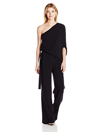 9866e17e11af Halston Heritage Women s Asymmetrical Sleeve Wide Leg Jumpsuit with Tie