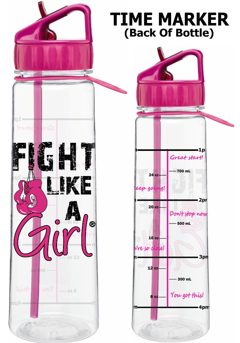 Fight Like a Girl w//Boxing Gloves Slimkim II Water Sports Bottle Motivational Time Marker with Measurement Goals 30 Oz Assorted Colors