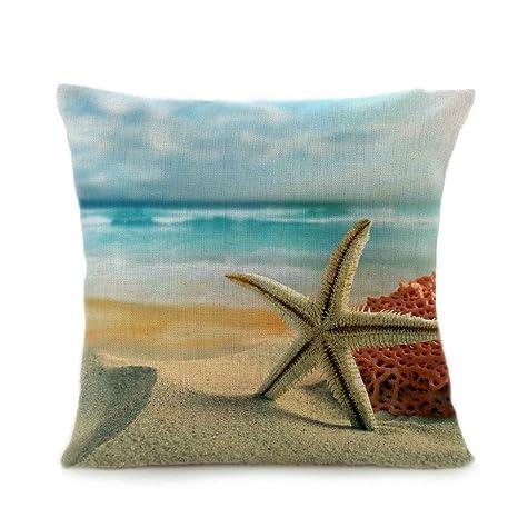 COOKDATE-Funda de Almohada,Paisaje de Playa Impresión Lino ...