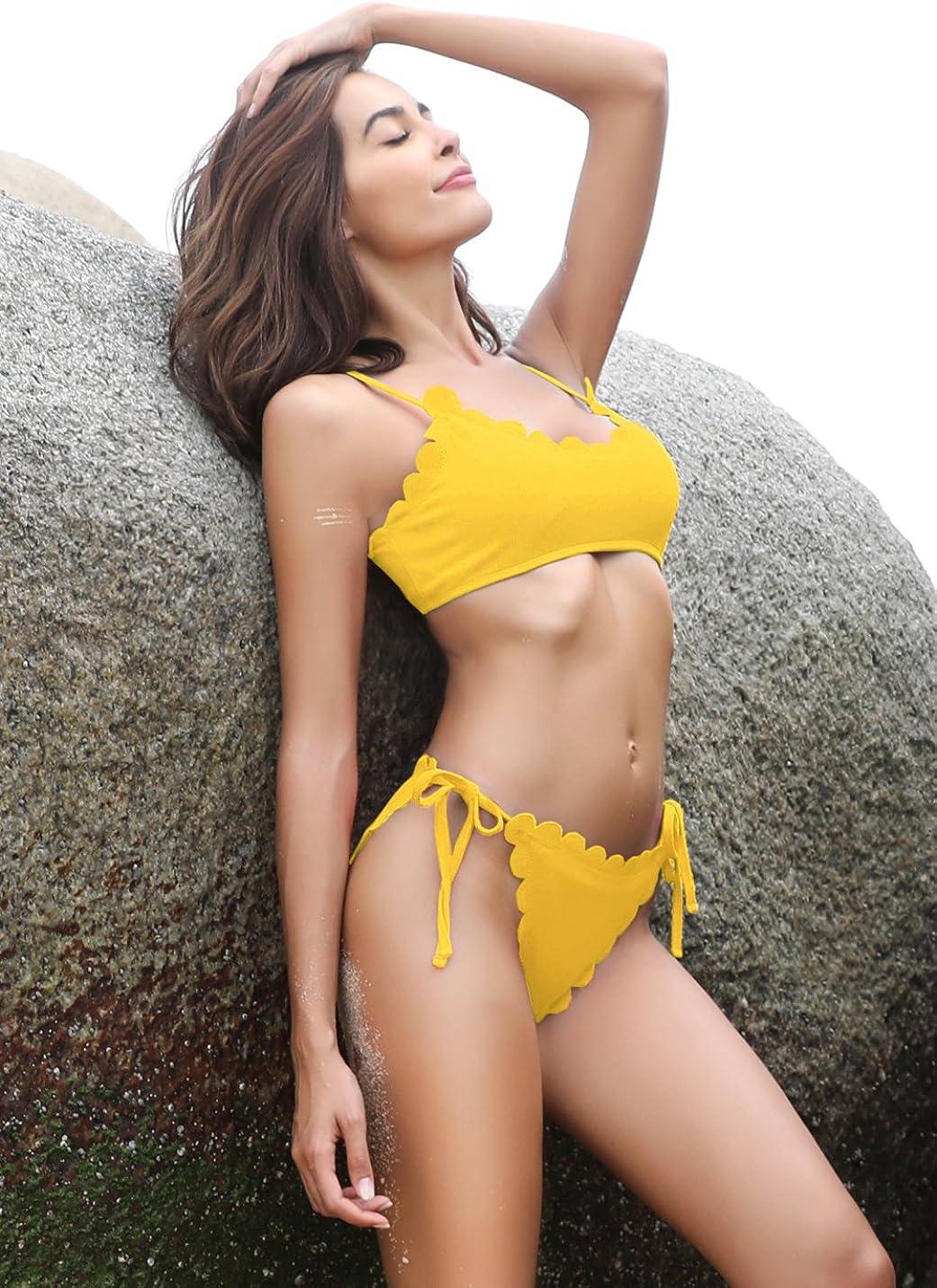 SHEKINI Damen Triangel Bikini-Set Neckholder Gepolstert Bademode Schn/ürung Bikinislip Zweiteiler Badeanzug