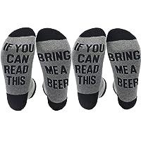 Gedston 2Pair Cotton novelty funny Socks Letter Stripe Breathable Anklet Socks for Women Men