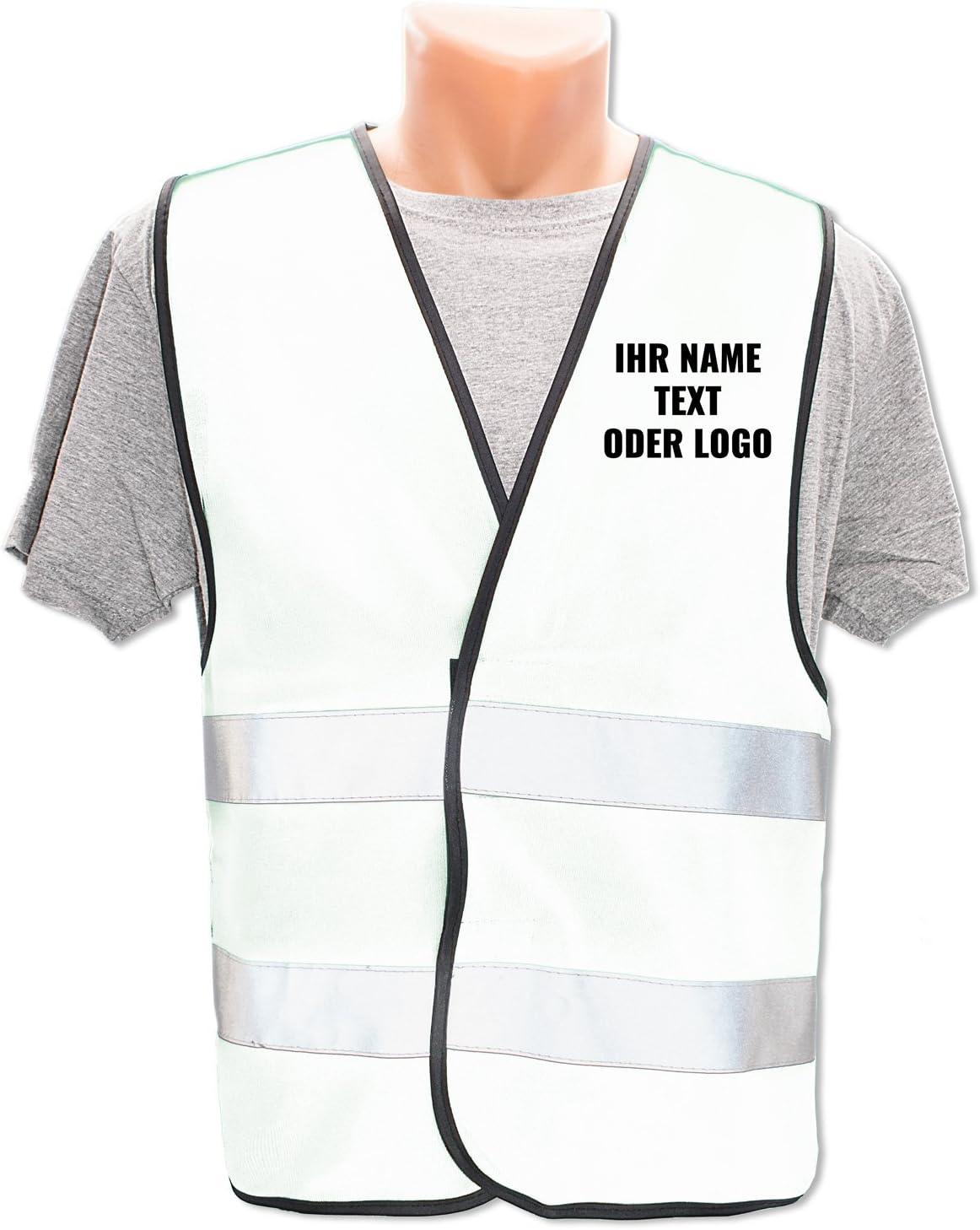 Menge:10 Warnwesten Bedruckt mit Name Text Bild Logo Firma Pers/önliche Warnweste selbst gestalten mit eigenem Aufdruck Farbe//Position:Gr/ün//OHNE Druck
