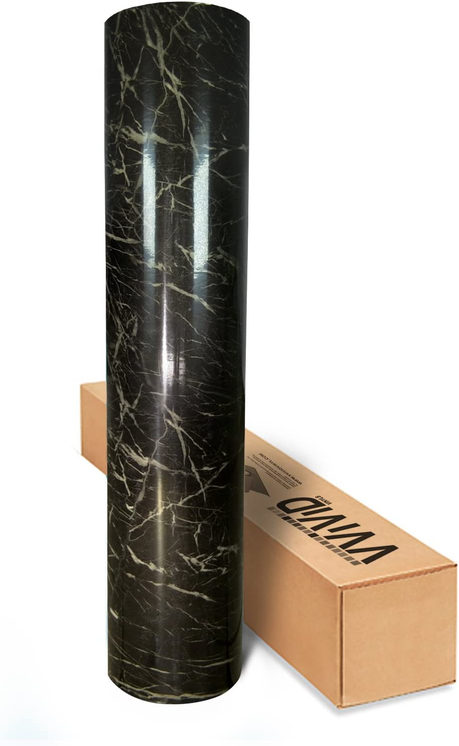 1 Roll Pack VViViD High Gloss Realistic Finish Black Marble White Veined Architectural Vinyl Wrap 16 inches x 78 inches Roll