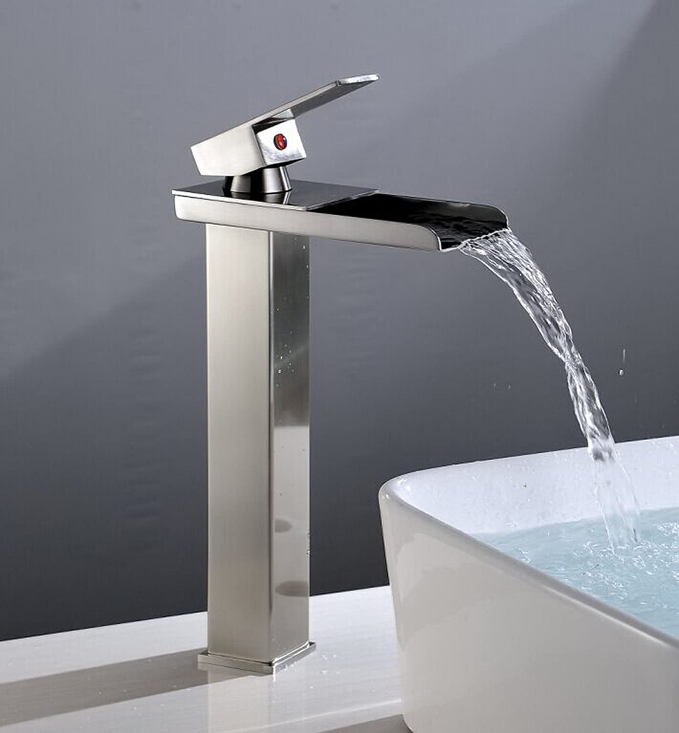 Eyekepper Tall Nickel Brushed Waterfall Bathroom Sink
