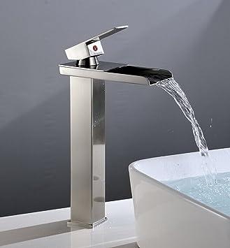 Eyekepper Tall Nickel Brushed Waterfall Bathroom Sink Vessel faucet Open Channel Basin Mixer Tap Long Bath. Eyekepper Tall Nickel Brushed Waterfall Bathroom Sink Vessel