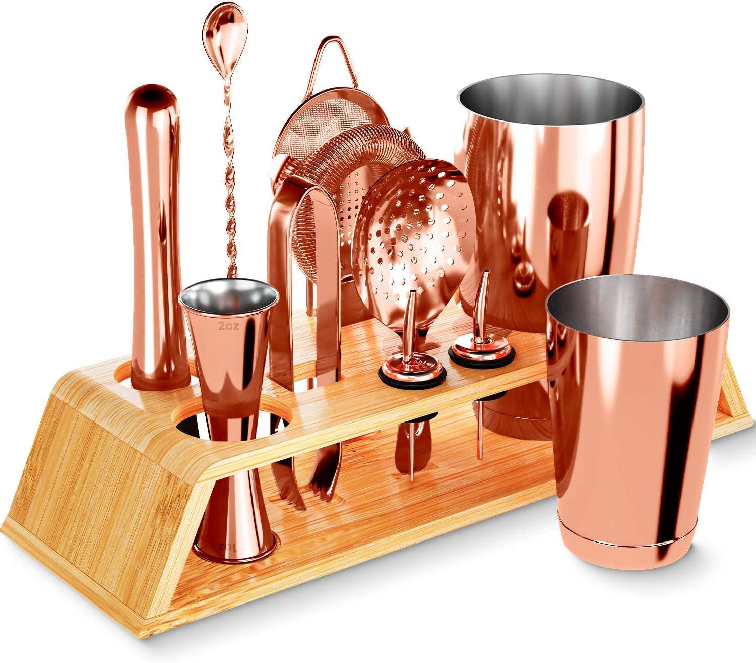12-Piece Rose Gold Cocktail Shaker Set with Bamboo Stand, Weighted 18 & 28oz Boston Shakers and Bar Tools Set Using Premium Stainless Steel 304, The Perfect Bartending Mixing Kit for the Home or Bar