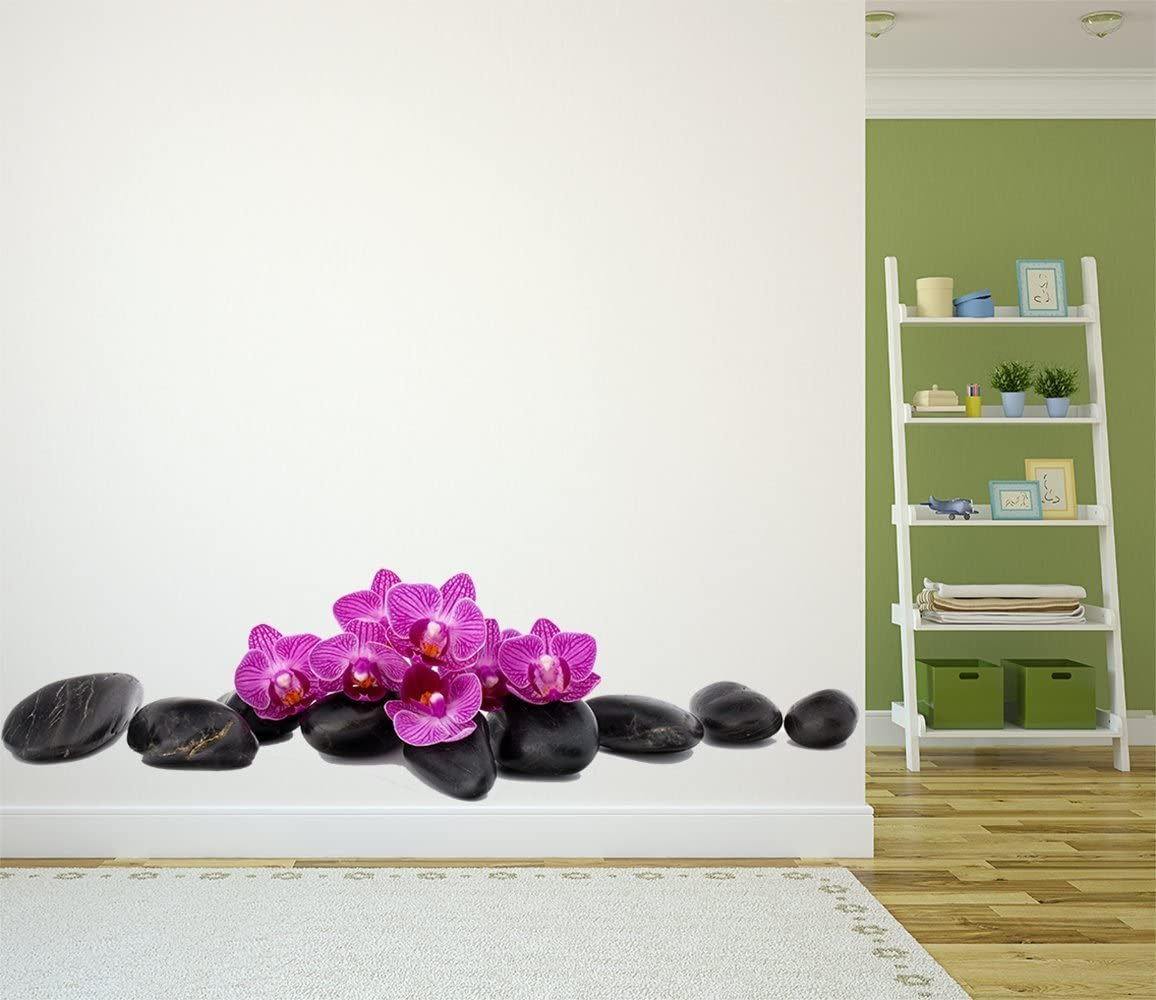 Vinilo Decorativo Zen Piedras Negras Flores Lilas   Decoración Habitaciones   Varias Medidas 155x120cm   Adhesivo Resistente y de Facil Aplicación  