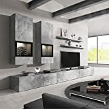 "Duros Wall Unit Entertainment Center WITH ADDITIONAL BOTTON CABINET - 35"" base piece"