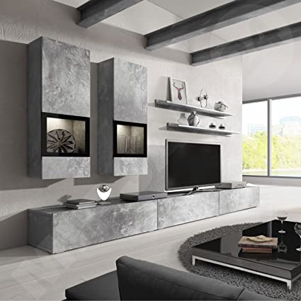 Barbos Unique Modern Wall Units Center Meble Furniture/Contemporary Wall  Units/Color Grey Concrete