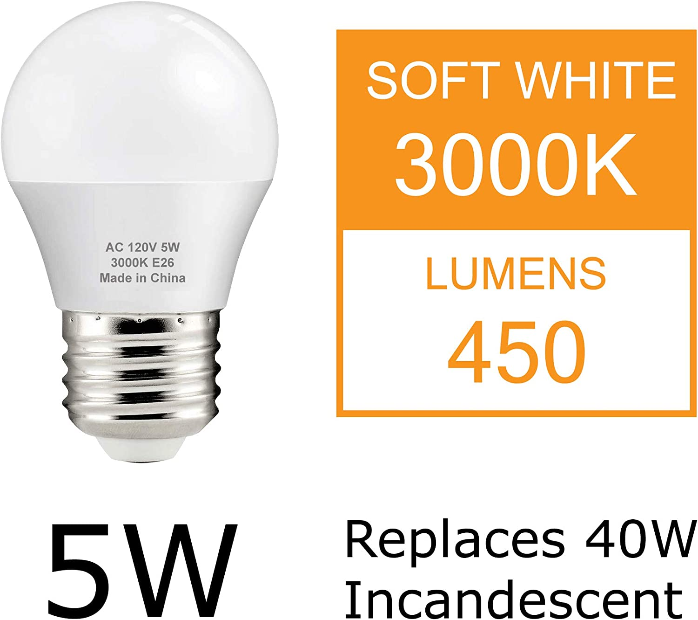 3000K Warm White 40W Equivalent NOT DIMMABLE 1-Pack J.LUMI BPC4505 LED Light Bulb 5W E26 Medium Base