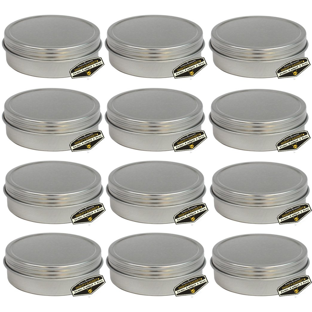 12 Pack of Mighty Gadget (R) Screw Top Round Steel Tin Cans (1 oz)