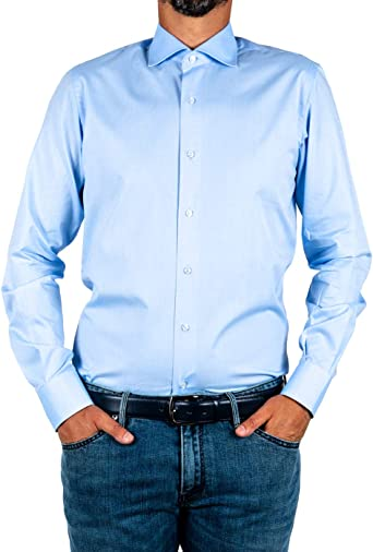 Marcus - Camisa de hombre de Delsiena, color celeste, de algodón doble torcido azul celeste 40 ES: Amazon.es: Ropa y accesorios