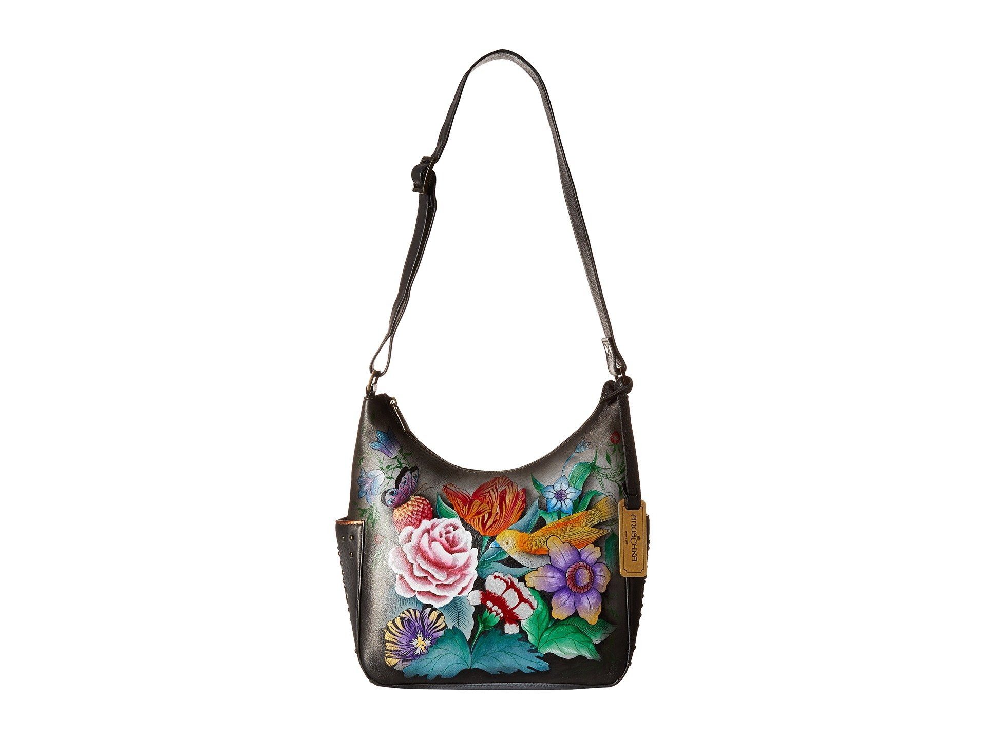 Anuschka Hand Painted Classic Hobo with Studded Side Pockets, Vintage Bouquet