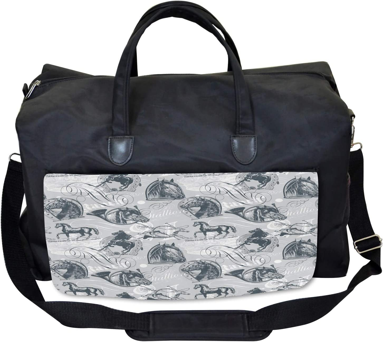 Horse Royal Animal Retro Large Weekender Carry-on Ambesonne Gray Gym Bag
