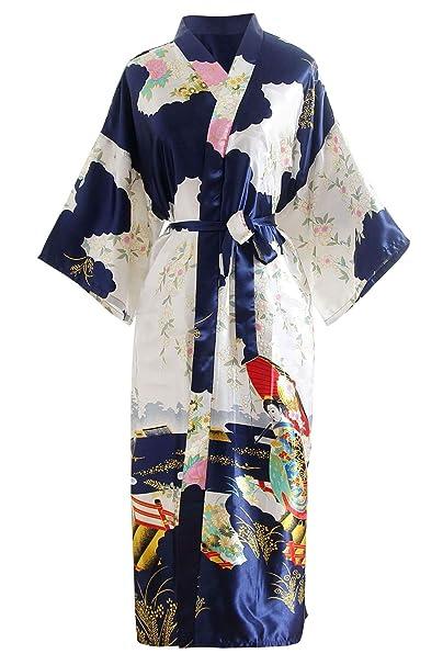 YAOMEI Novia Mujer Vestido Kimono Satén, Camisón para Mujer ...