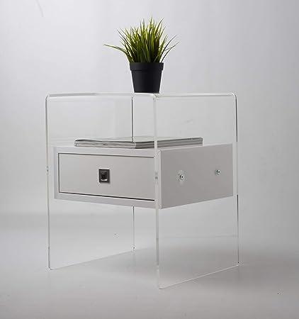 Fimel Comodino tavolino in plexiglass Trasparente con cassettino ...