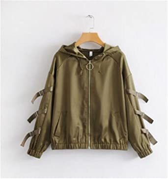 Madehappy New Spring Bomber Jackets Women Hooded Aviator Jacket Armygreen Baseball Jackets Chaquetas Mujer Jaqueta Feminina