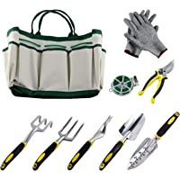 9 Pieces Garden Tool Sets Include a Plant Rope and a Pair of Work Gloves,6 Heavy Cast Aluminum Heads with Ergonomic Handles and a Garden Tote
